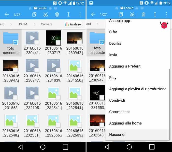 nascondere foto Android con ES Gestore File
