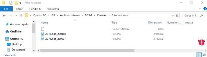 nascondere foto Android senza app con file nomedia da PC