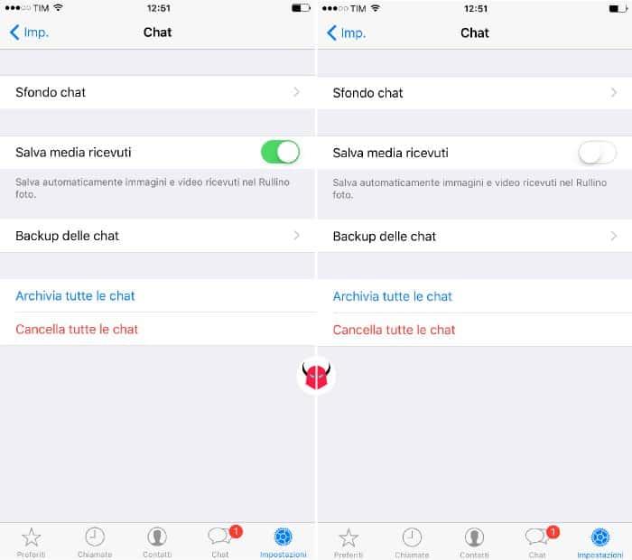 non salvare foto WhatsApp su iPhone opzione salva media ricevuti