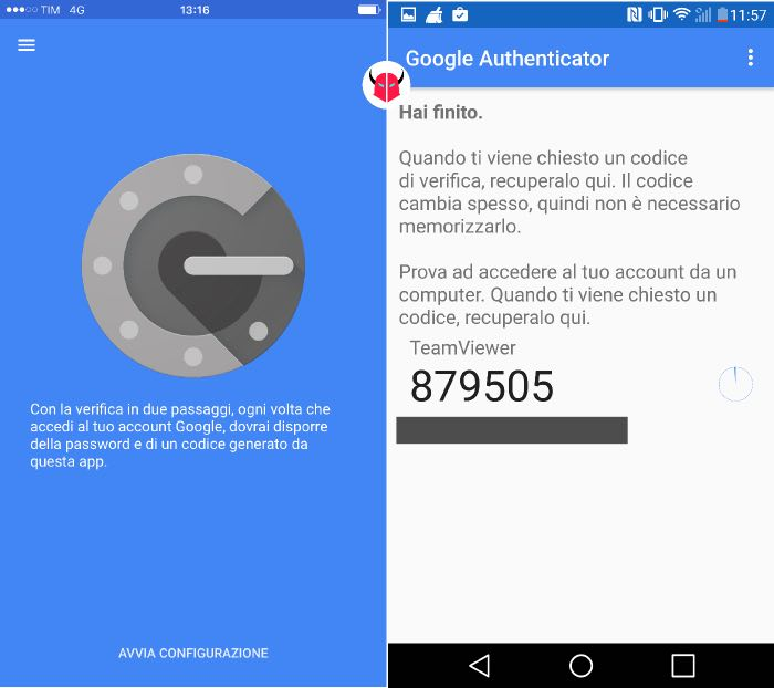 proteggere accesso TeamViewer Google Authenticator