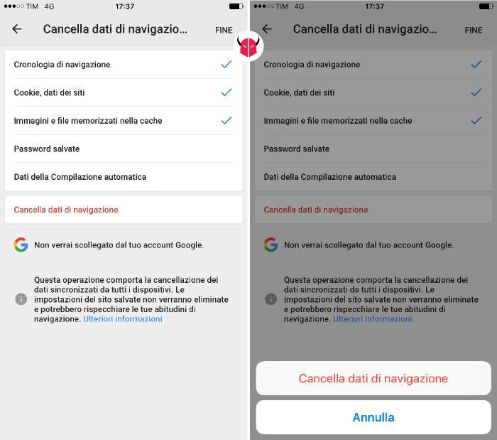 pulire iPhone cache e dati navigazione Chrome