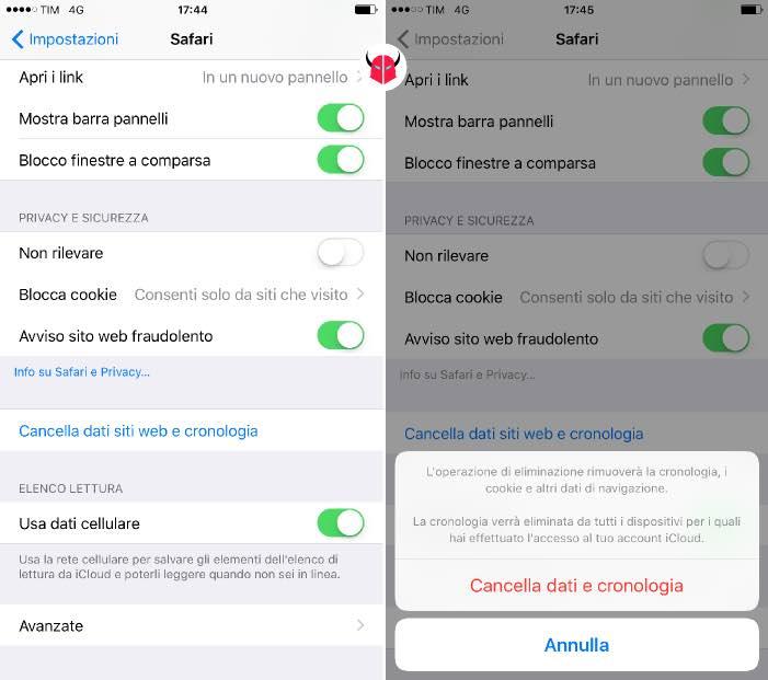pulire iPhone cache e dati navigazione Safari
