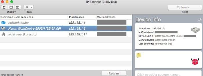 trovare IP stampante su Mac IP Scanner
