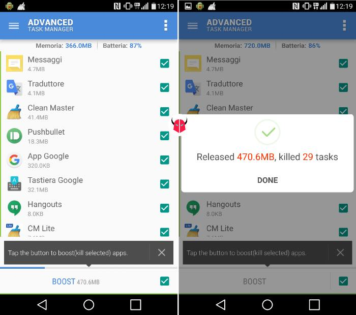 velocizzare WhatsApp task manager Android