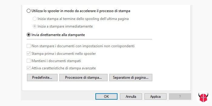 attivare stampante sospesa su Windows bypass spooler