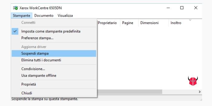 attivare stampante sospesa su Windows opzione Sospendi stampa