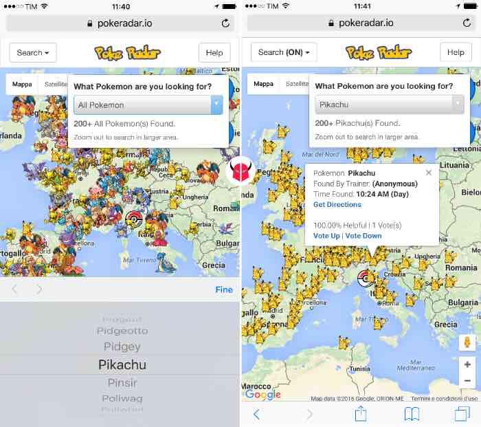 come catturare Pikachu in Pokemon Go mappa Poké Radar