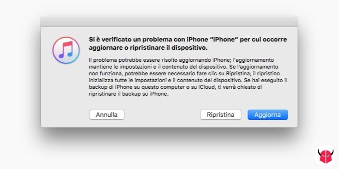 come disattivare Trova il mio iPhone ripristino di iOS tramite iTunes