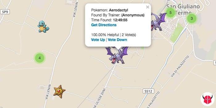 come funziona Poke Radar per Pokemon Go mappa