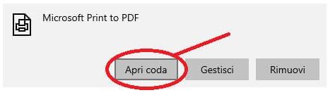 come installare una stampante PDF su Windows apertura coda di stampa