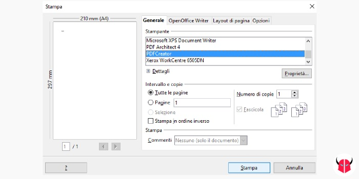 come stampare in PDF con Windows PDF Creator