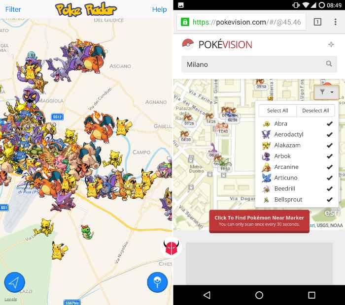 come trovare Pokemon nei dintorni Poké Radar e PokéVision