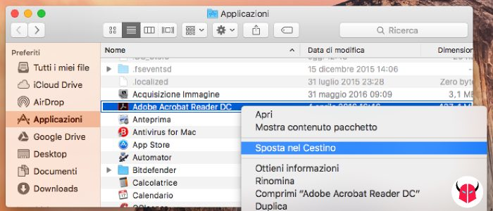 disinstallare programmi da Mac con il Cestino