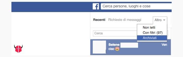 recuperare chat archiviate Messenger da computer tramite Facebook