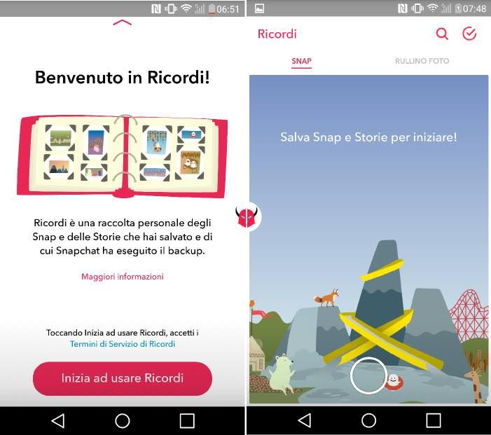 salvare foto Snapchat su Android attivazione Ricordi