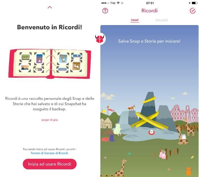 salvare foto Snapchat su iPhone attivazione Ricordi