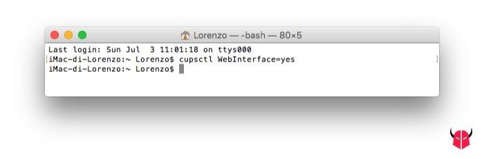 stampare bianco nero su Mac attivazione CUPS con il Terminale