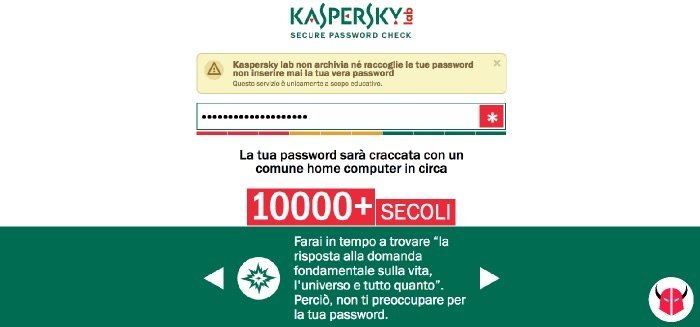 verificare sicurezza password Kaspersky computer