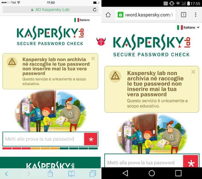 verificare sicurezza password Kaspersky mobile
