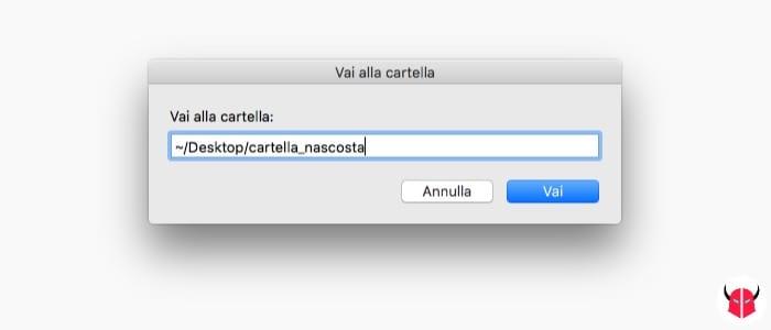 visualizzare cartelle nascoste Mac con il Finder inserimento percorso