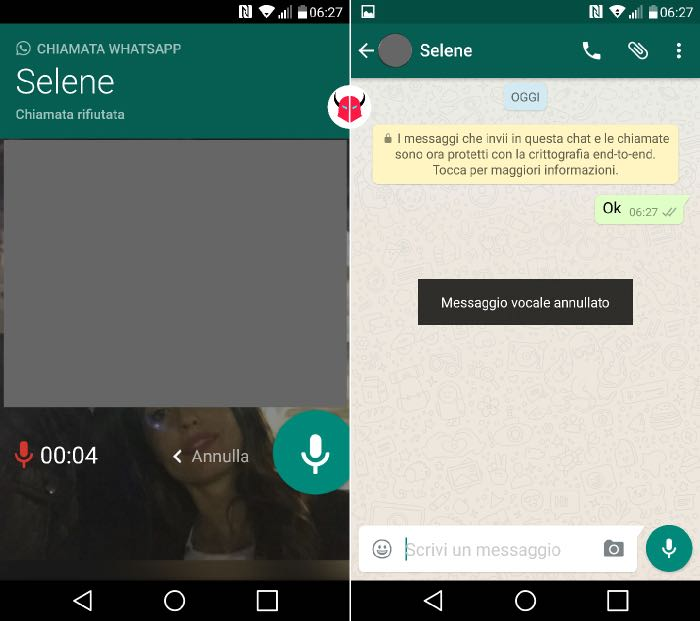 come attivare segreteria WhatsApp su Android registra e annulla messaggio vocale