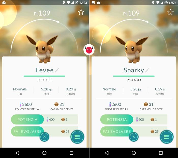 come far evolvere Eevee in Pokemon Go nomi