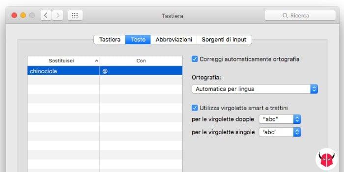 come fare la chiocciola sul Mac sostituzione testo