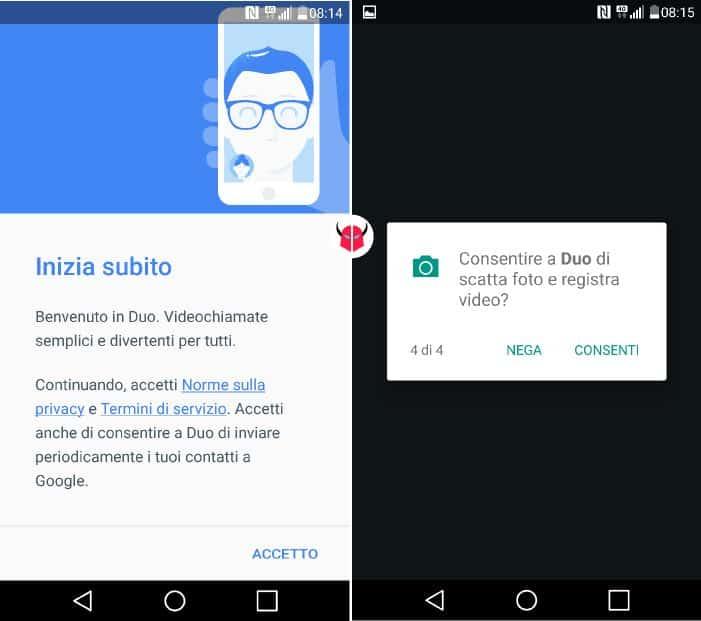 come funziona Google Duo avvio applicazione