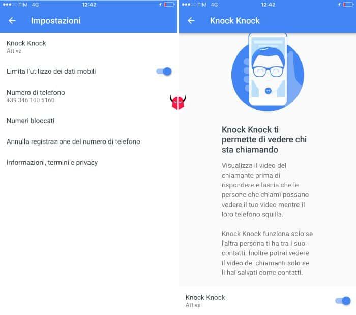 come funziona Google Duo impostazioni Knock Knock
