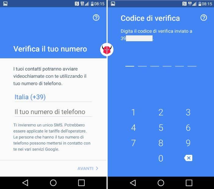come funziona Google Duo verifica del numero di telefono
