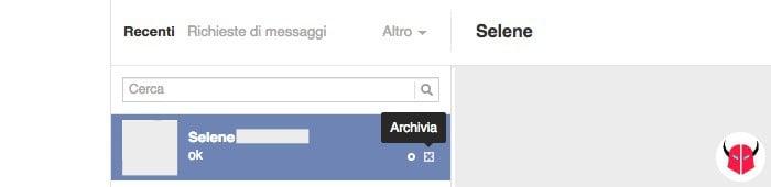 come recuperare messaggi cancellati Facebook opzione Archivia