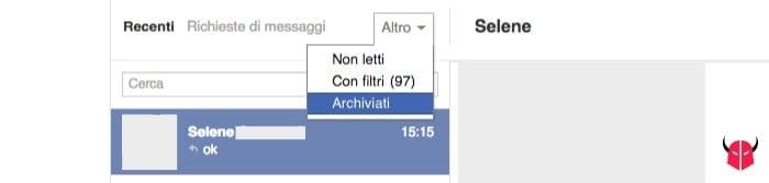 come recuperare messaggi cancellati Facebook sezione Archiviati