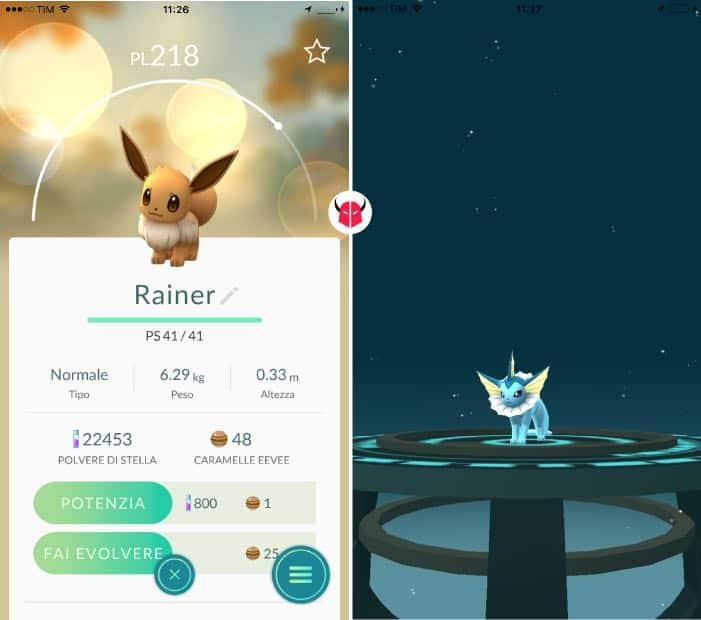 nome Eevee per Pokemon Go evoluzione