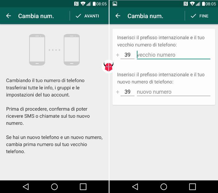 come cambiare numero WhatsApp su Android