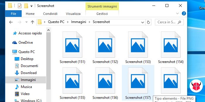 come fare screenshot Windows 10 salvataggio file PNG