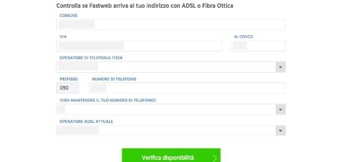 come fare verifica copertura fibra Fastweb test