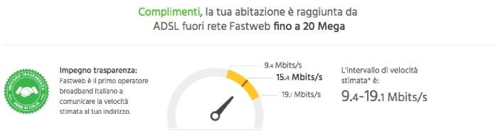 come fare verifica copertura fibra Fastweb velocità internet