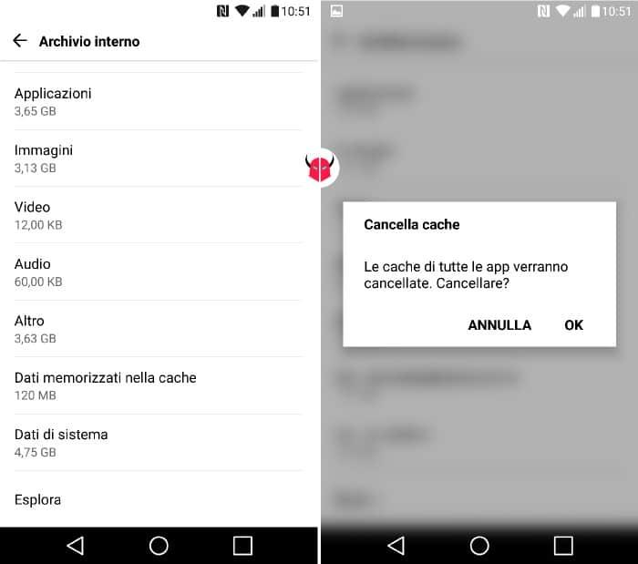 come liberare spazio su Android cache