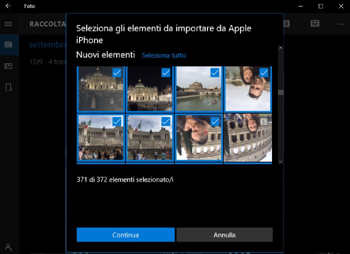 come trasferire foto da iPhone a PC con la Raccolta foto di Windows 10