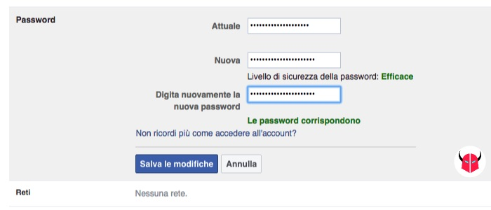 come cambiare password Facebook da PC