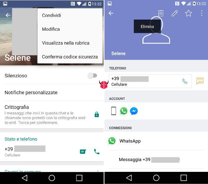 come cancellare un contatto da WhatsApp su Android eliminazione