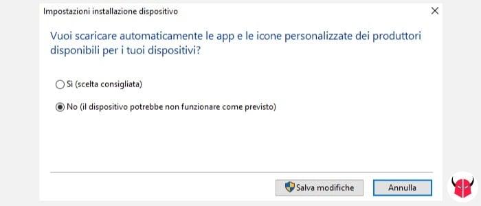 come disattivare installazione automatica driver Windows impostazioni