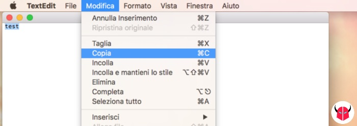 come fare copia e incolla su Mac con mouse opzioni menu