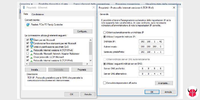 come cambiare DNS Windows 10 modifica connessione di rete