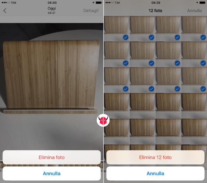come eliminare foto da iPhone selezione singola e multipla