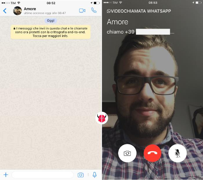come fare la videochiamata con WhatsApp su iPhone avvio