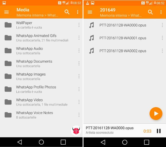 come salvare messaggi vocali WhatsApp su Android riproduzione opus VLC