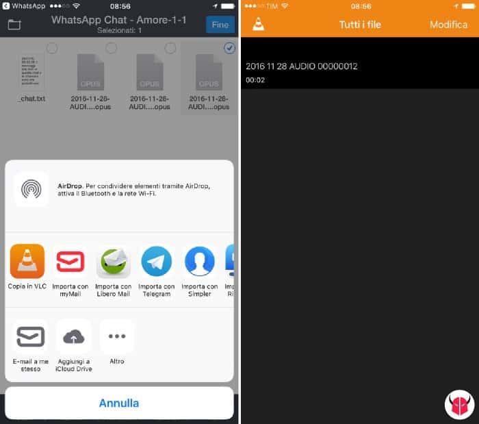 come salvare messaggi vocali WhatsApp su iPhone riproduzione opus VLC