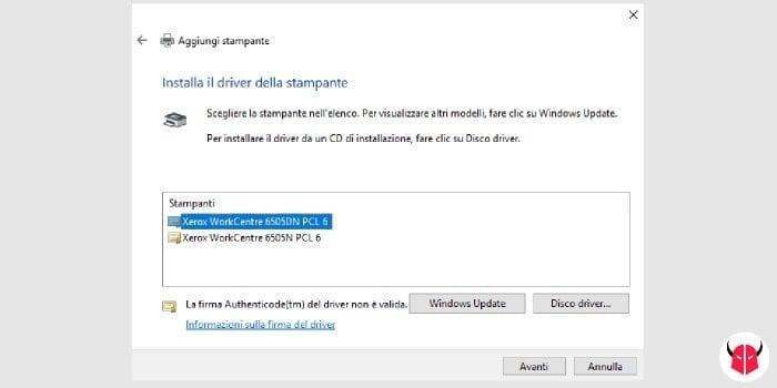 come aggiungere stampante di rete Windows 10 driver