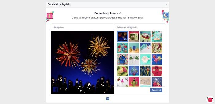 come fare gli auguri di Buone Feste su Facebook biglietti